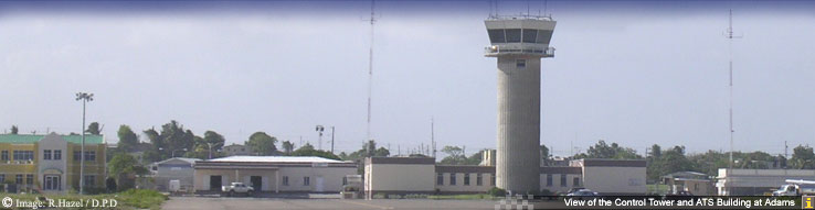 View of the Control Tower and ATS Building at Adams
